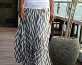 Grey chevron skirt pant, harem pant, light grey chevron pant, harem style skirt, maxi skirt pan