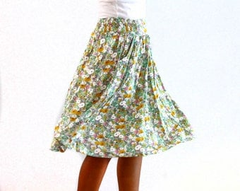 Everyday Skirt, small flowers country skirt, Midi Skirt