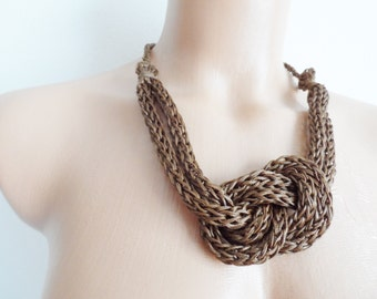 Brown crochet necklace, handmade,new accessory