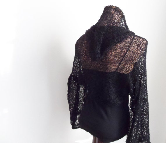 Elegant Hand Knitted  Black Shrug, with hood bolero, scarf