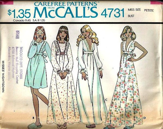 "VTG McCall""s 4731 Misses V Plunge Nightgown and Pinafore Look Nightgown Pattern, Size Petite, UNCUT"