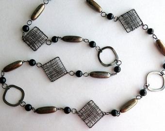 Gun metal necklace