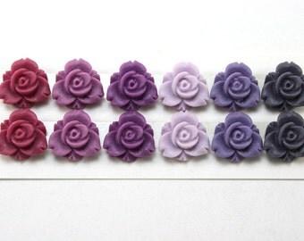 12 pcs Resin Flower Cabochons - 12mm Trillium Flowers - Purple Matte Mix