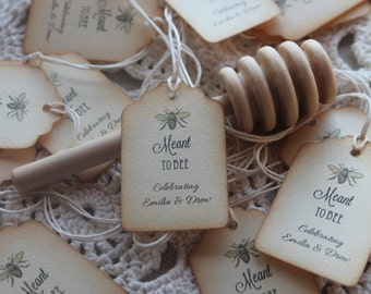 Meant to Bee Favor Tags - Customized- Distressed Edges-  Belle Savon Vermont