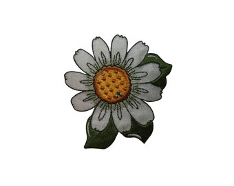 ID #6737 White and Yellow Flora Flower Plant Iron On Embroidered Patch Applique