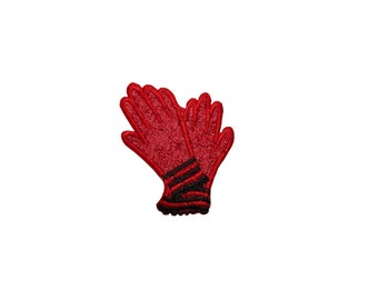 ID #7898 Red Gloves Fashion Iron On Embroidered Patch Applique