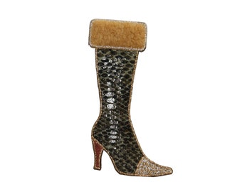 ID #7981 Fuzzy Snakeskin High Heel Fashion Iron On Embroidered Patch Applique
