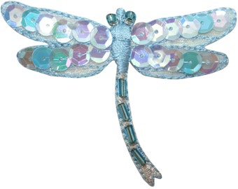 ID #1650B Bead and Sequin Dragonfly Damselfly Insect Bug Iron On Applique Patch