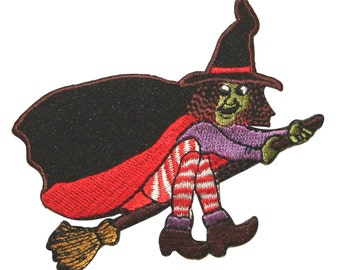 ID #0899 Flying Wicked Witch on Broomstick Halloween Iron On Applique Patch