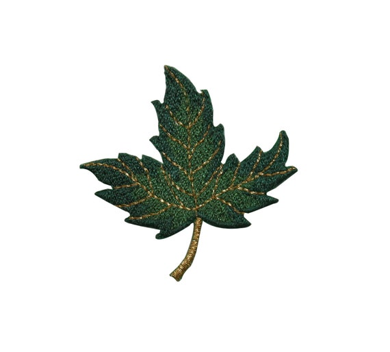 Id green and gold maple leaf leaves iron on embroidered