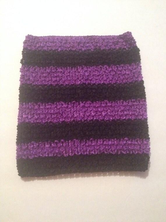 "Purple and Black 8"" Crochet Tube Top for Tutu Dresses"