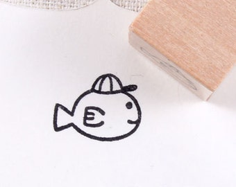 cute fish Small Rubber Stamp
