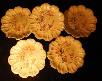 Antique Hand-painted Franz Anton Mehlem Plates, Set of Five    p316