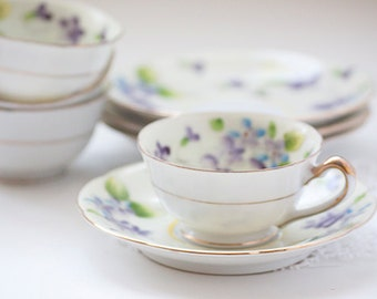 Set of 4 Small Tea Cups With Matching Saucers, Made in Japan, M backstamp