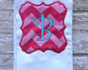 Chevron Monogrammed Burp Cloth Hot Pink Turquoise Blue Initial