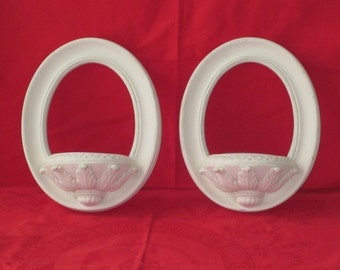 Pair Vintage Shabby Creamy White Chalkware Hanging Wall Pockets