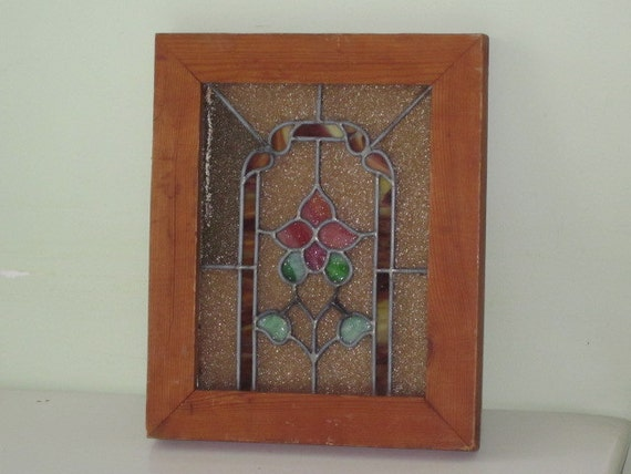vintage framed stained glass leaded glass panel by