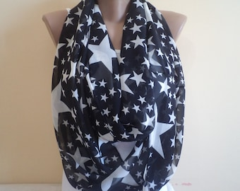 Stars Scarf, Accessories, Gift İdeas, Black infinity Scarf, Loop Scarf,  Fashion scarf, scarves, star scarves, For Her Gifts