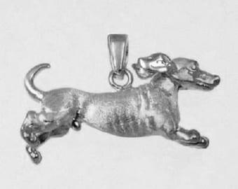 3D RUNNING DACHSHOUND  Dog Charm in 925 Sterling Silver  25-15