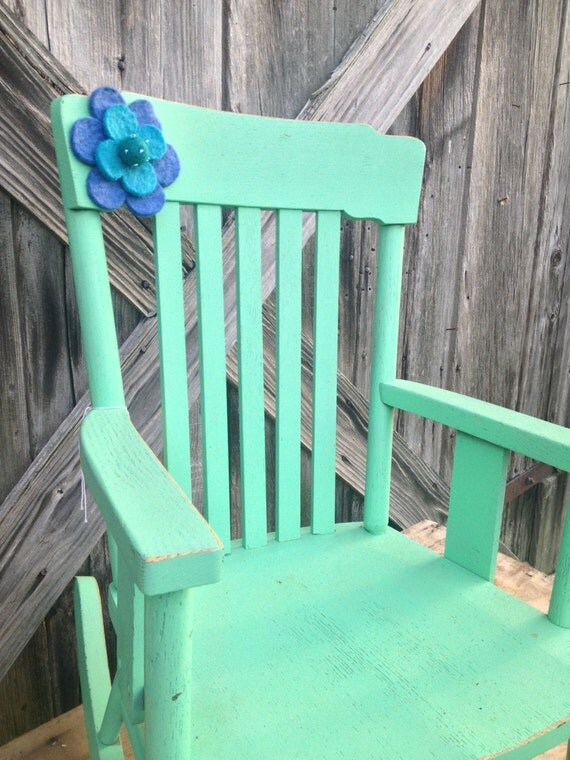 Vintage Green Painted Kids Rocking Chair