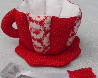Teacup and Saucer Soft Art Red and White Tea Bag Sachet Custom Unique Grandchildren Collectors