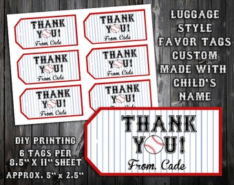 PERSONALIZED Baseball Themed Birthday Party Printable - Favor Tags - DIY Printing - Great for Goody Bags