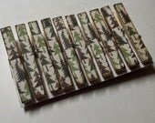 Pine tree decoupage themed clothespins set of 10 pine forest cabin themed christmas theme