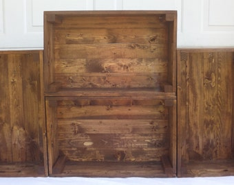 Set of 4 Reclaimed Wooden Storage Crates With English Chestnut Finish, Toy Storage, Home Decor, Pallet Furniture