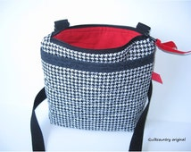 Houndstooth crossbody bag with zipper closure,  quilted crimson tide crossover purse