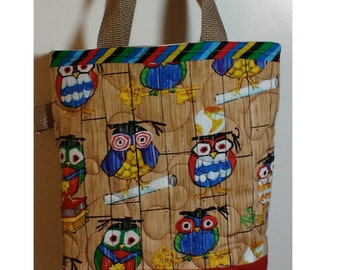 Kids owl tote bag, small quilted tote bag, pre school graduation gift