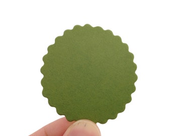 "2"" Jellybean Green Scalloped Paper Circles - Create Something Truly Unique! 100 Count"