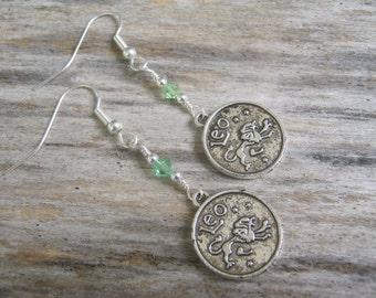 Personalized Leo the Lion Earrings, Zodiac Earrings, Ruby or Peridot Swarovski Birthstone, Astrology Earrings, July August Jewelry