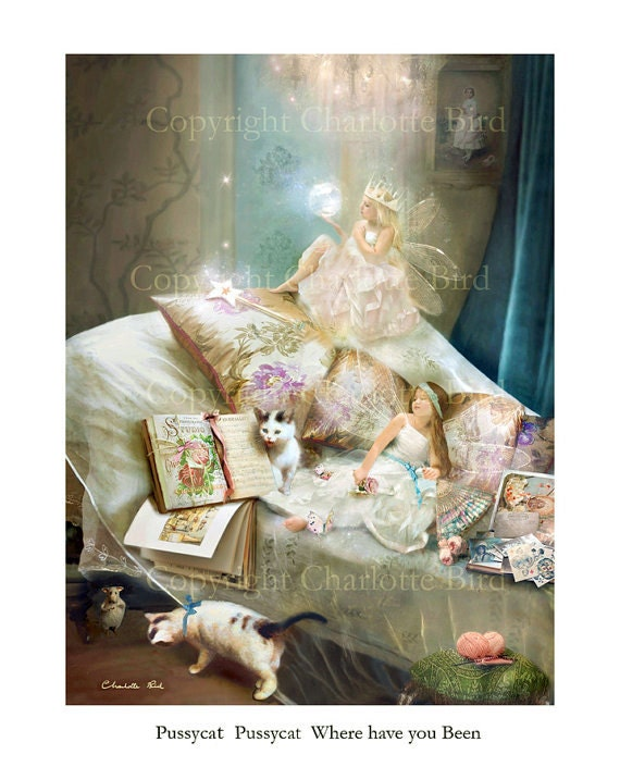 Fine art Fairy Print   Pussy-cat Pussy-cat where have you been  Nursery Ryhme