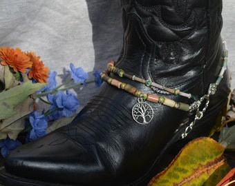 Beaded Boot Bracelet With Natural Jasper Stones, Cloisonne Beads And Silver Tree Of Life Charm