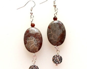 Polished Taupe and Wine Fossil Earrings