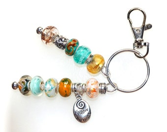 Aqua & Gold Beaded Key Ring With Follow Your Heart Charm
