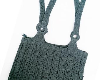 Vintage 80's Crochet Double Strap Zip Top Handbag