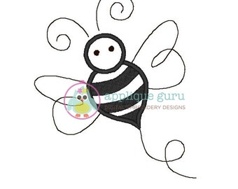 Sweet Bee Applique Machine Embroidery Design