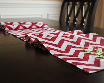 Premier Prints Red and White CHEVRON Christmas table runner