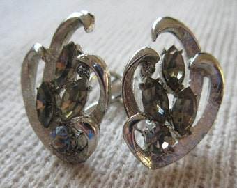 Vintage 60s earrings BSK silver tone with topaz smoky quartz stones