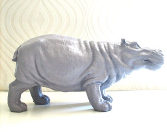 LITE PURPLE GREY Large Hippo Statue in light purple-gray:  Hans the Hippo office nursery kids room unique gift children's decor table top