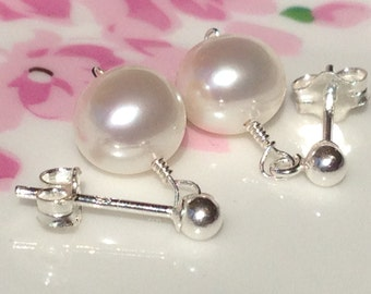 Pearl Jewelry, June Birthday Earrings, Solid Sterling Silver Pearl Dangle Earrings,Pearl Sterling Silver Stud Solitaire Earrings