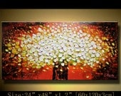 Abstract Wall Painting , Impasto flowers paintings. Wall Deco Ready to Hang . Textured painting ,Palette Knife art on canvas by Chen n068