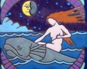 Mermaid, Sea Nymph, hot plate, wall decor, bathroom mural installation, kitchen backsplash, mosaic, hand crafted orignal made in USA