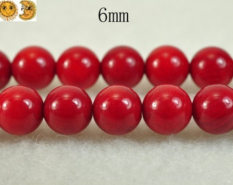 15 inch strand of Red Bamboo Coral smooth round beads 6 mm
