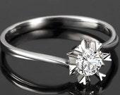 Engagement Ring -  0.3 Carat Diamond Engagement Ring In 14K White Gold