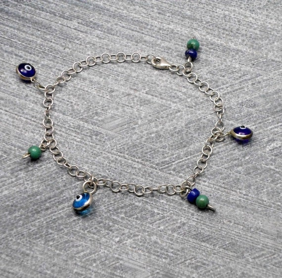 Charm Bracelet, Silver, Turquoise and Blue Charms, Mediterranean, For Girls, Delicate, Valentine