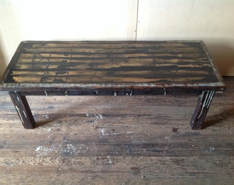 Rustic Black and Reclaimed Wooden Coffee Table
