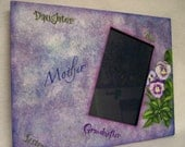 Pansy Flower Frame, Wooden Pansy Picture Frame, Purple Wood Frame, Pansy Mother, Purple Picture Frame, OFG Team
