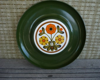 Vintage Lacquerware Appetizer Tray with Tile Detail, Floral Serving Tray, Retro Entertainment